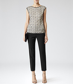 Reiss black and white floral top