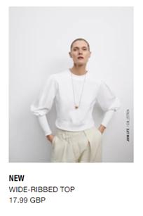 White ribbed top Zara