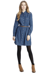 Oasis denim belted dress