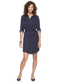 Navy and white spotty shirt dress