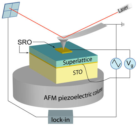 Setup for AFM measurement of piezoelectric properties of thin films using a metallic electrode on the film surface.