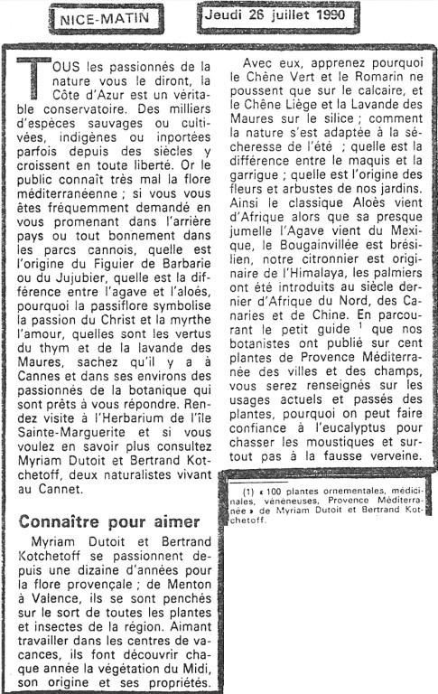 "Journal ""Nice Matin"" Juillet 1990"