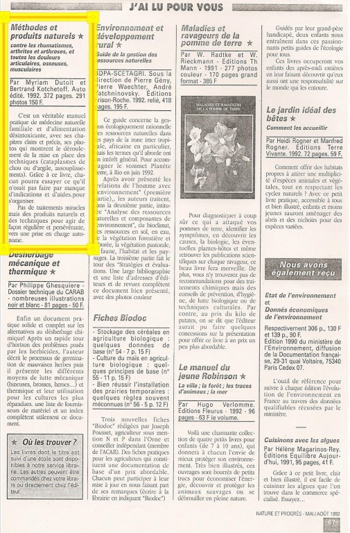 """Revue """"Nature et Progrès"""" Mai-Août 1992"""