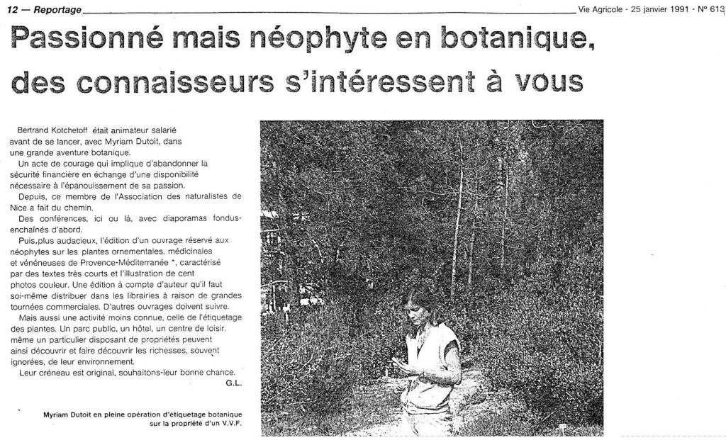 """Journal """"La Vie Agricole"""" 1991"""