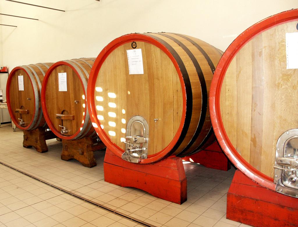 La zona botti per l'affinamento dei vini rossi