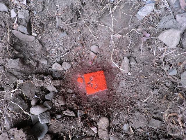 桐生市川内町2丁目 売り土地 土地の境界 国土調査の結果の杭 赤くマーキング