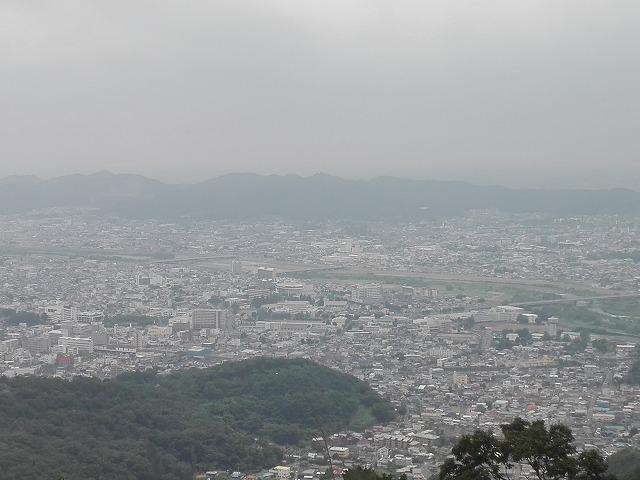 桐生市吾妻山頂上からの眺め。渡良瀬川方向