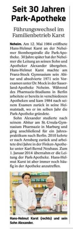 Park Apotheke Neheim: Pressearbeit  Foto: Svenja Krüger