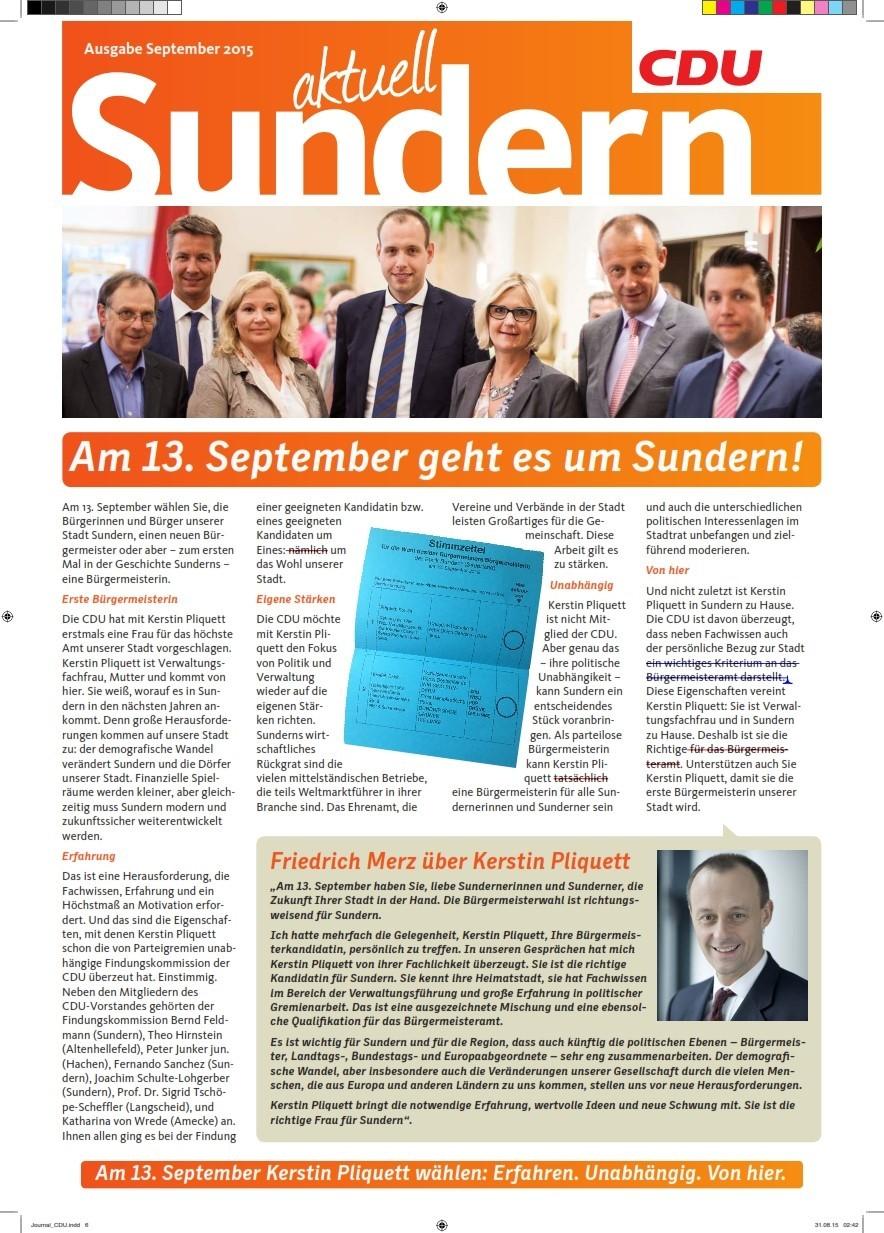 CDU Sundern: Inhalte CDU-Journal im Bürgermeisterwahlkampf