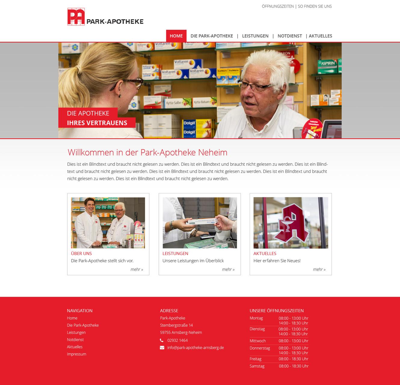 Park Apotheke Neheim: Neugestaltung Website  Technische Umsetzung: leycom