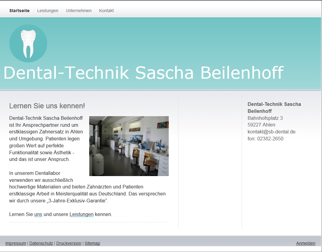 SB Dentaltechnik: Inhalte Website