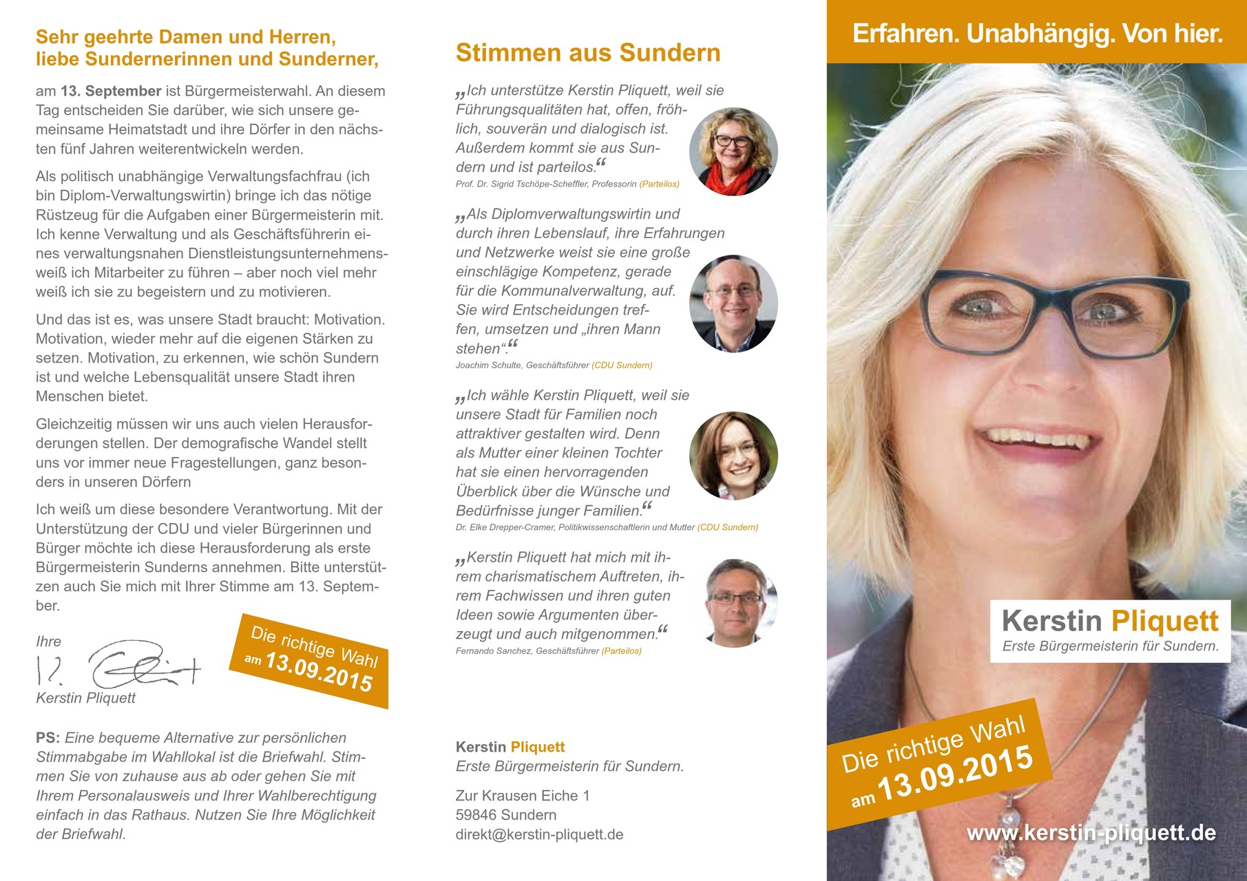 CDU Sundern: Inhalte Flyer Bürgermeisterwahlkampf