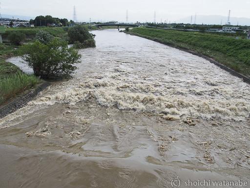 いつもは穏やかな川も大増水