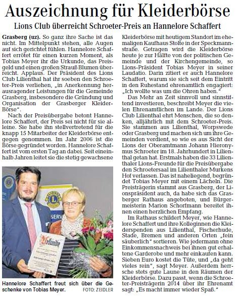 2014: Präsident Tobias Meyer übergibt den Schroeter-Preis an Hannelore Schaffert. (Quelle: Wümme-Zeitung vom 27.09.2014)