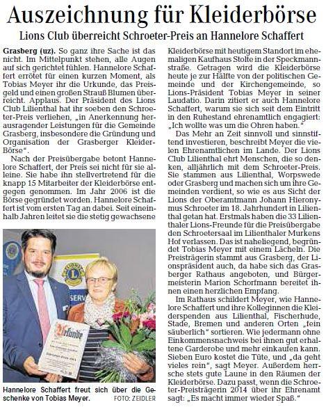 Quelle: Wümme-Zeitung vom 27.09.2014