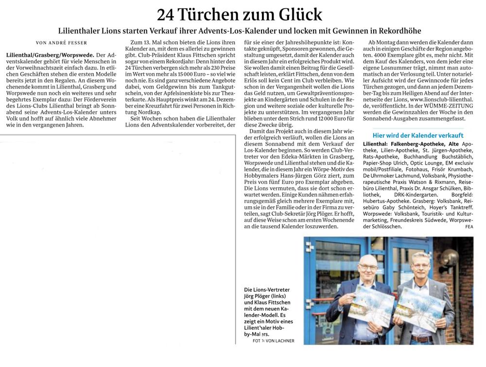 Quelle: Wümme-Zeitung vom 25.10.2018
