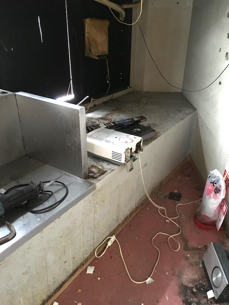 奥の厨房部分も解体します。