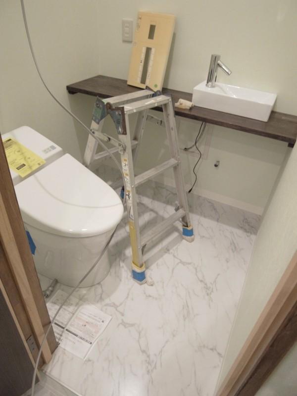 トイレはTOTOの一体型便器を設置、手洗いは中国製の水栓とボウルです。でも自動水栓。