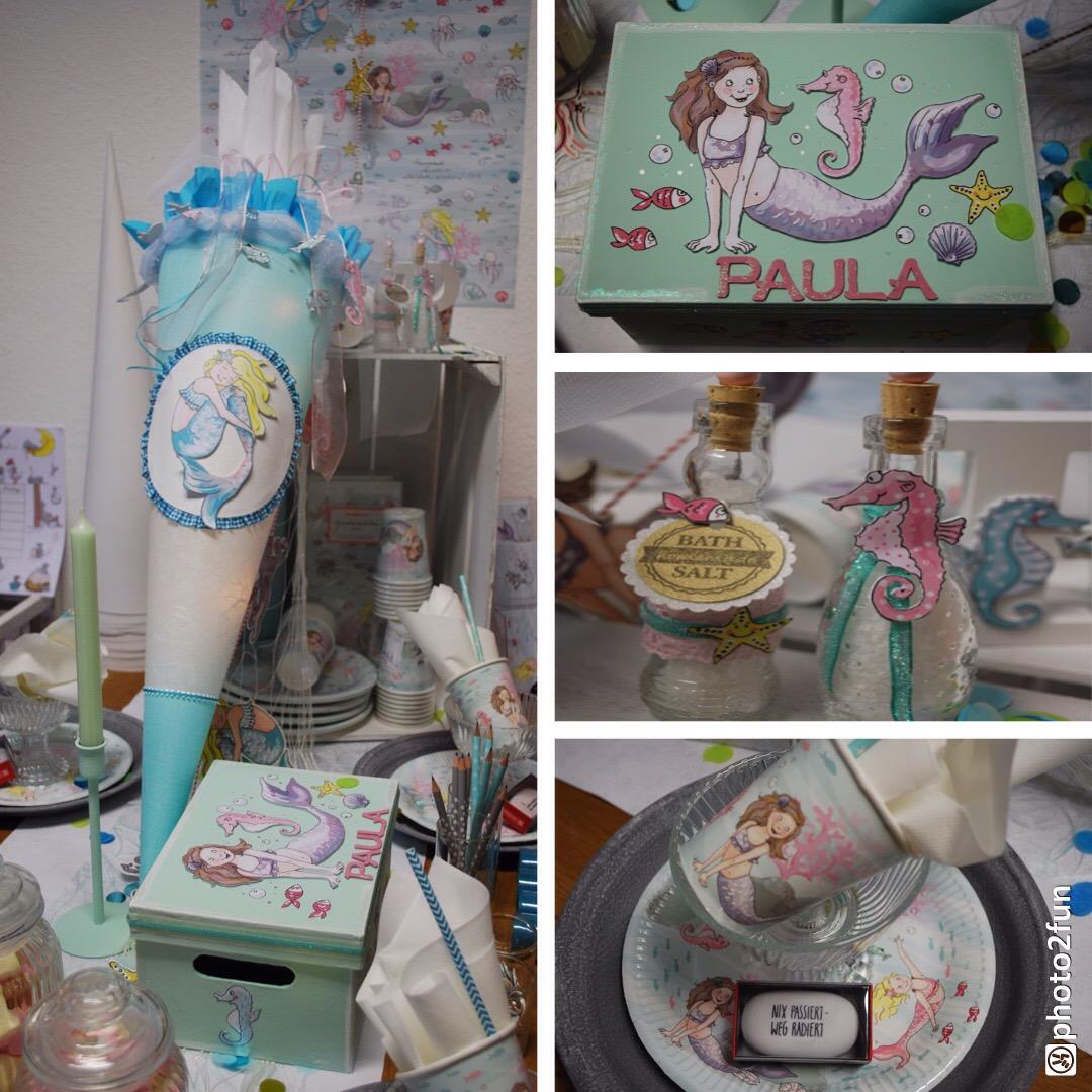 Schultüte Meerjungfrau Krima+Isa Motiv
