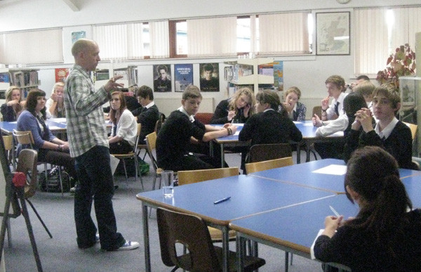 Explaining the Story Sprint Relay rules at Knox Academy, Scotland