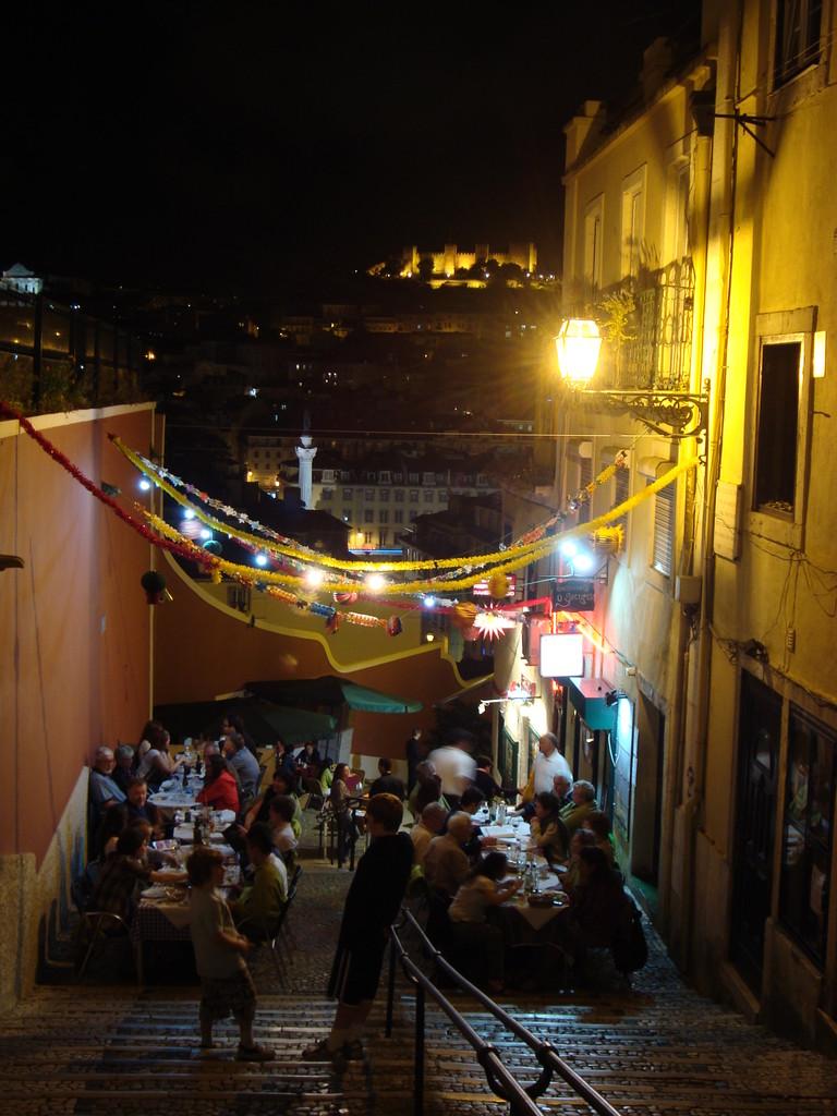 ロシオ広場からバイロアルトに向かう階段です。夜景がきれい。