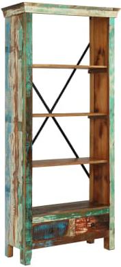 libreria legno #riciclato #recupero #vintage #industriale #arredo #multicolore #artigianale