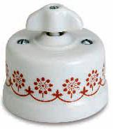 interruttore #deviatore #invertitore #ceramica #decoro #marrone #bianca #vintage #triplo #manopola