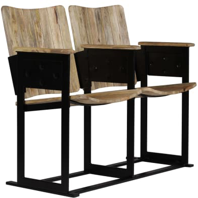 panca #cinema #legno #2 posti #acciaio #stile #industriale