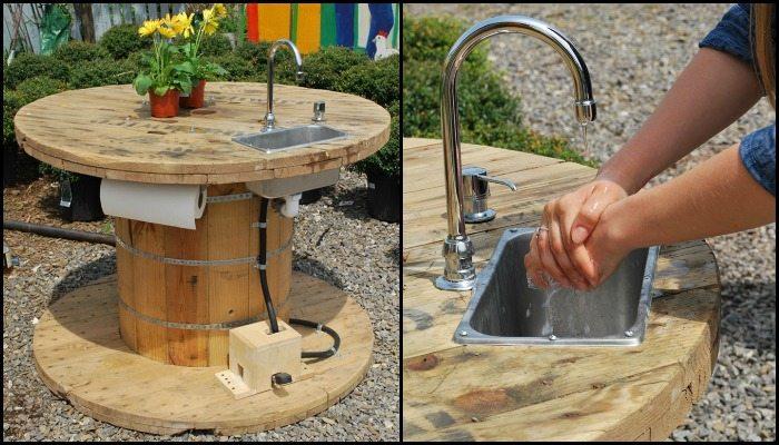 lavandino +bobina +riciclato +esterni +giardino +tavolo +arredo