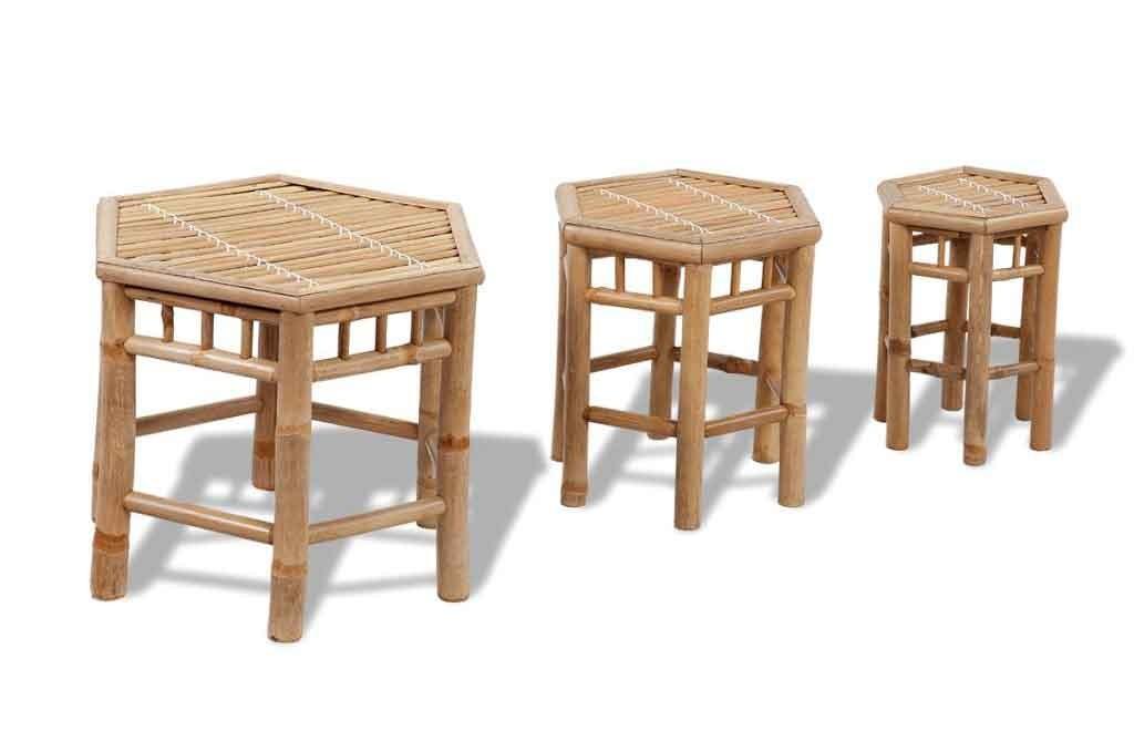 Set 3 sgabelli in bambù benvenuti su sandro shop