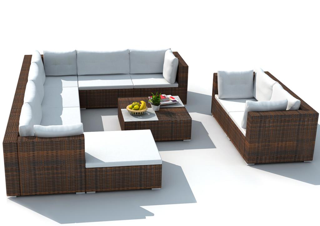 Soggiorno angolare con divano rattan Caffè