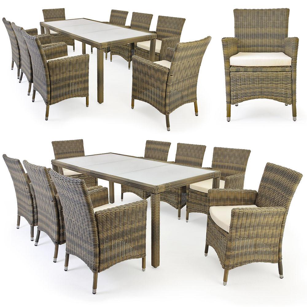 Tavolo 8 sedie rattan argento marmorizzato oro - Set tavolo e sedie rattan ...
