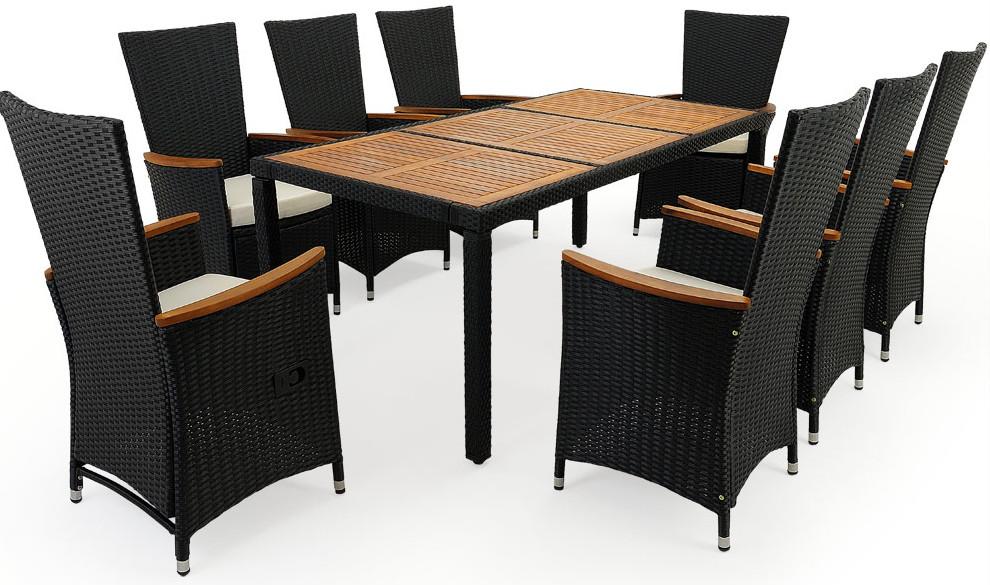 tavolo superficie in legno di acacia poltroncine reclinabili con braccioli in acacia