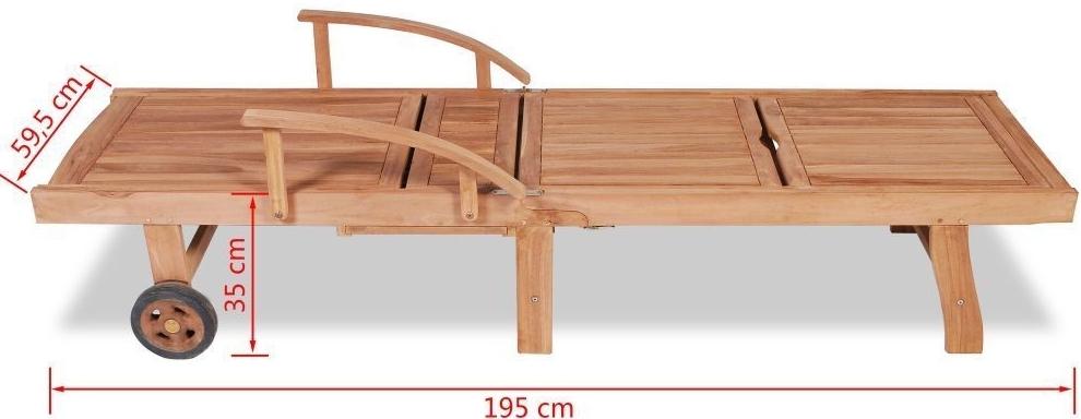 sdraio legno +teak +ruote +prendisole