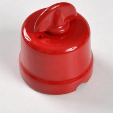 interruttore #deviatore #pulsante #rotativo #ceramica #porcellana #rosso
