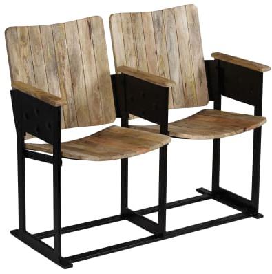 panca #cinema #legno #2 posti #acciaio #stile #industriale #sandro #shop #online