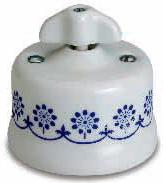 interruttore #deviatore #invertitore #ceramica #decoro #blu #bianca #vintage #triplo