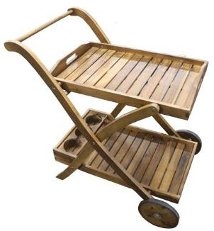 carrello +portavivande +vivande +acacia +legno