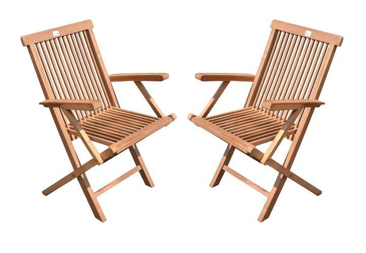 Divero 4er Set sedia da giardino con braccioli massiccio pieghevole teak in legno-trattati
