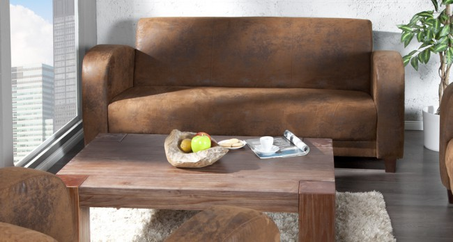 divano vintage industrial style pelle scamosciata