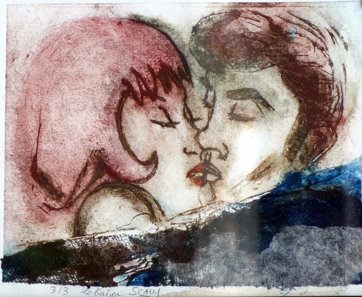 Le baiser- 21/17 cm - gravure sur carton.  disponible FOR SALE
