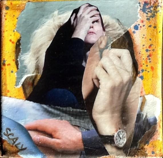 sans titre-  12/12 cm - collage acrylique-disponible FOR SALE