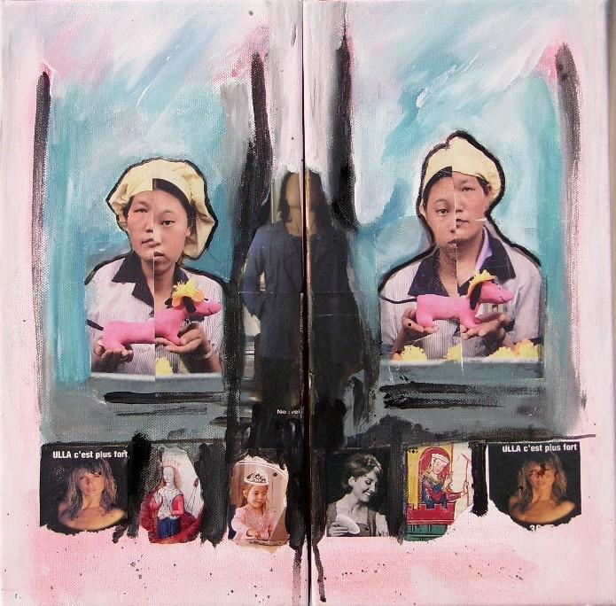 Two sisters -dyptique 40/40cm-  collage acrylique-