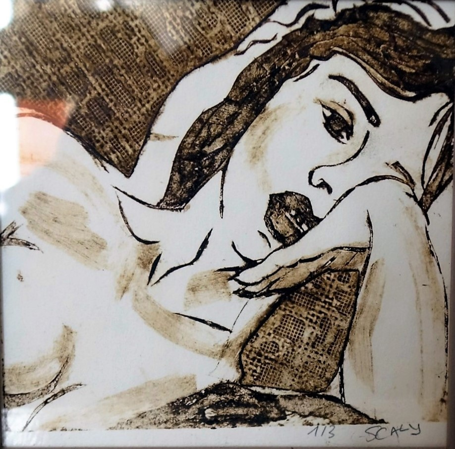 langoureuse -15/15 cm - gravure sur carton  disponible FOR SALE