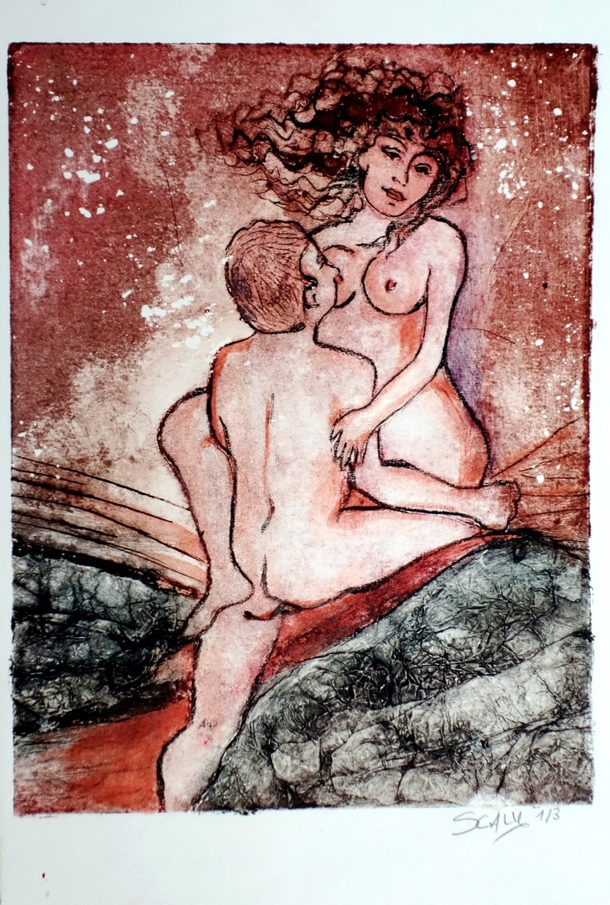 Love under the stars- 21/28 cm  - gravure sur carton.  disponible FOR SALE