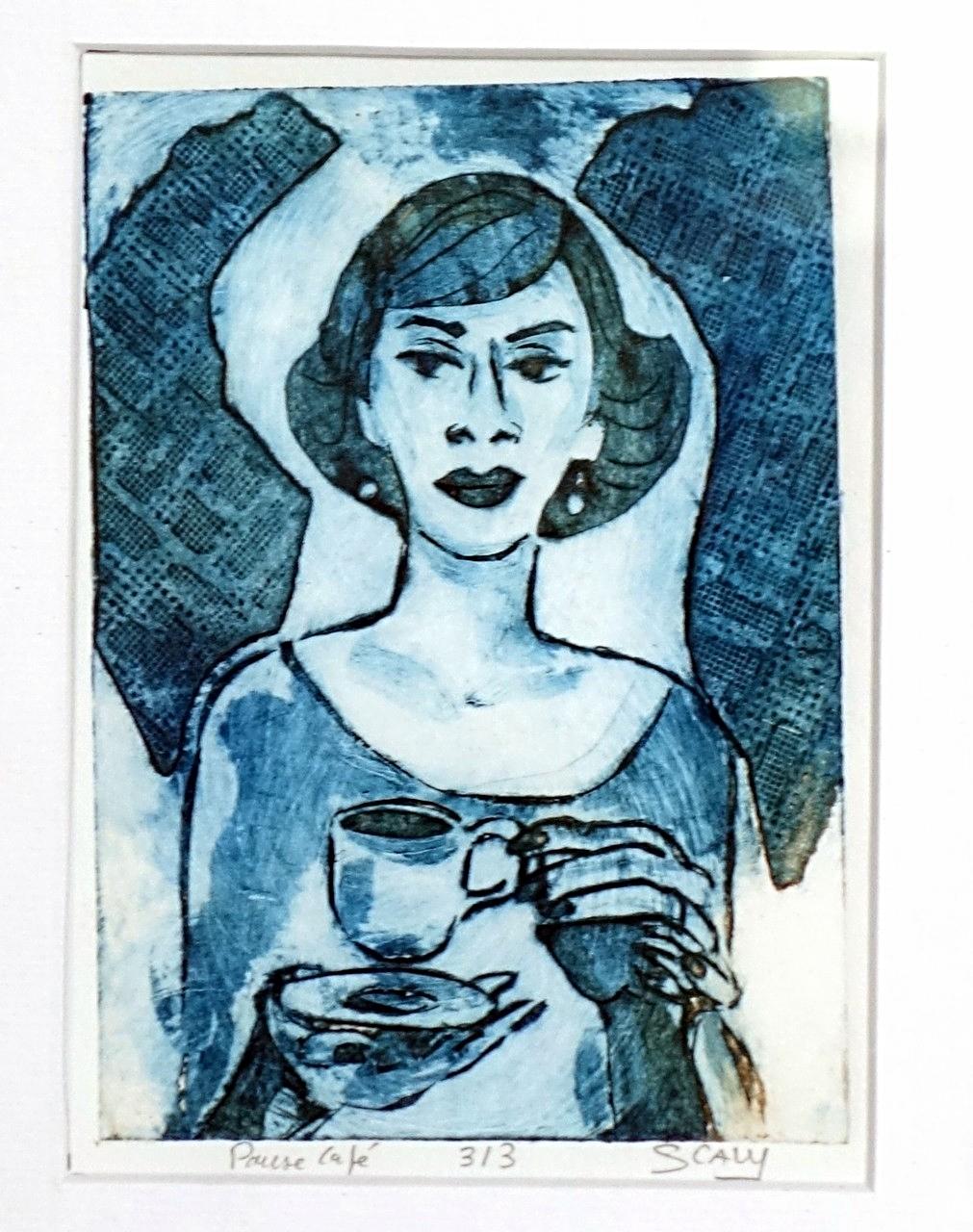 Pause café- 21/17 cm - gravure sur carton.-disponible FOR SALE