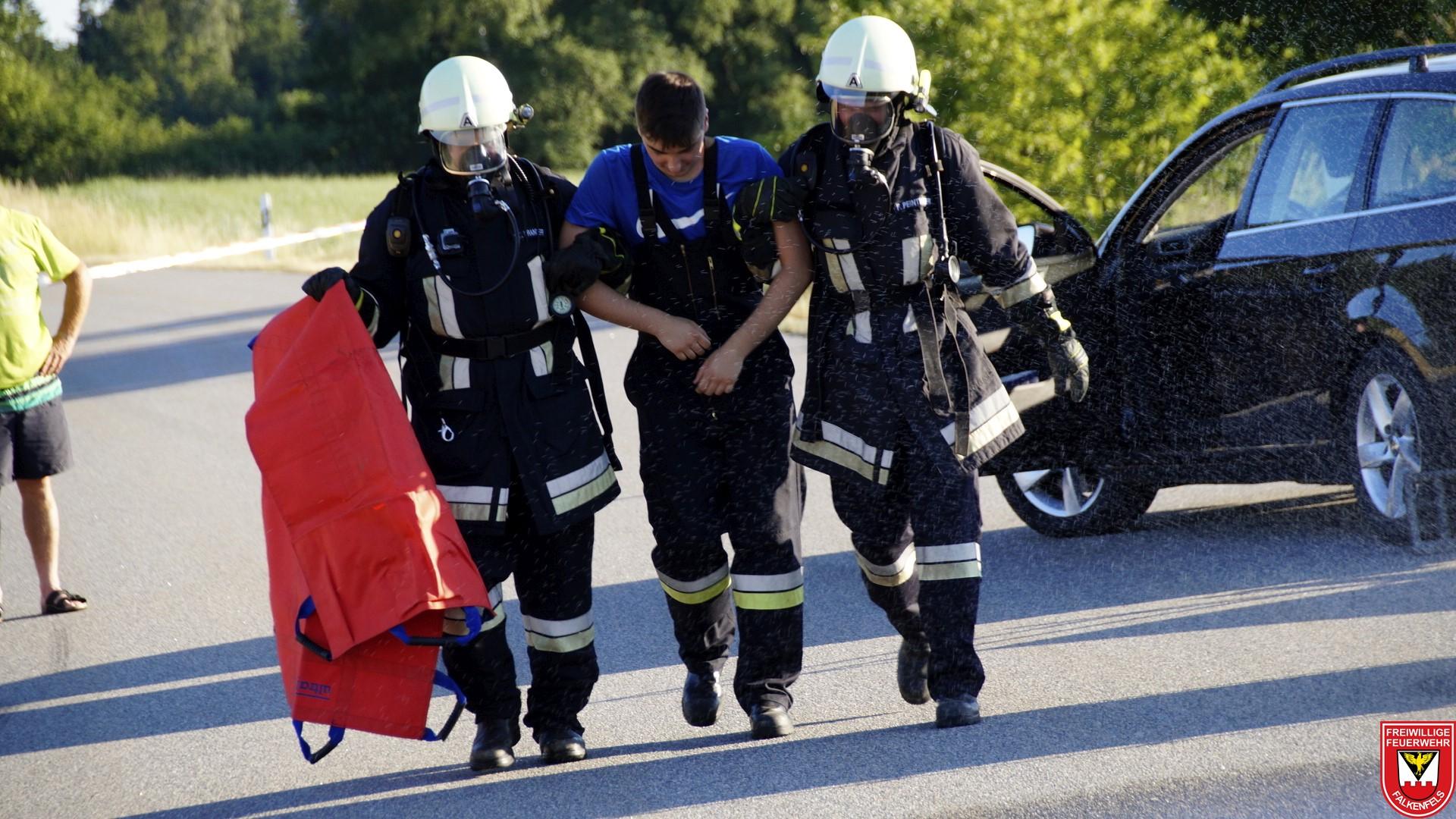 Rettung des Unfallfahrers