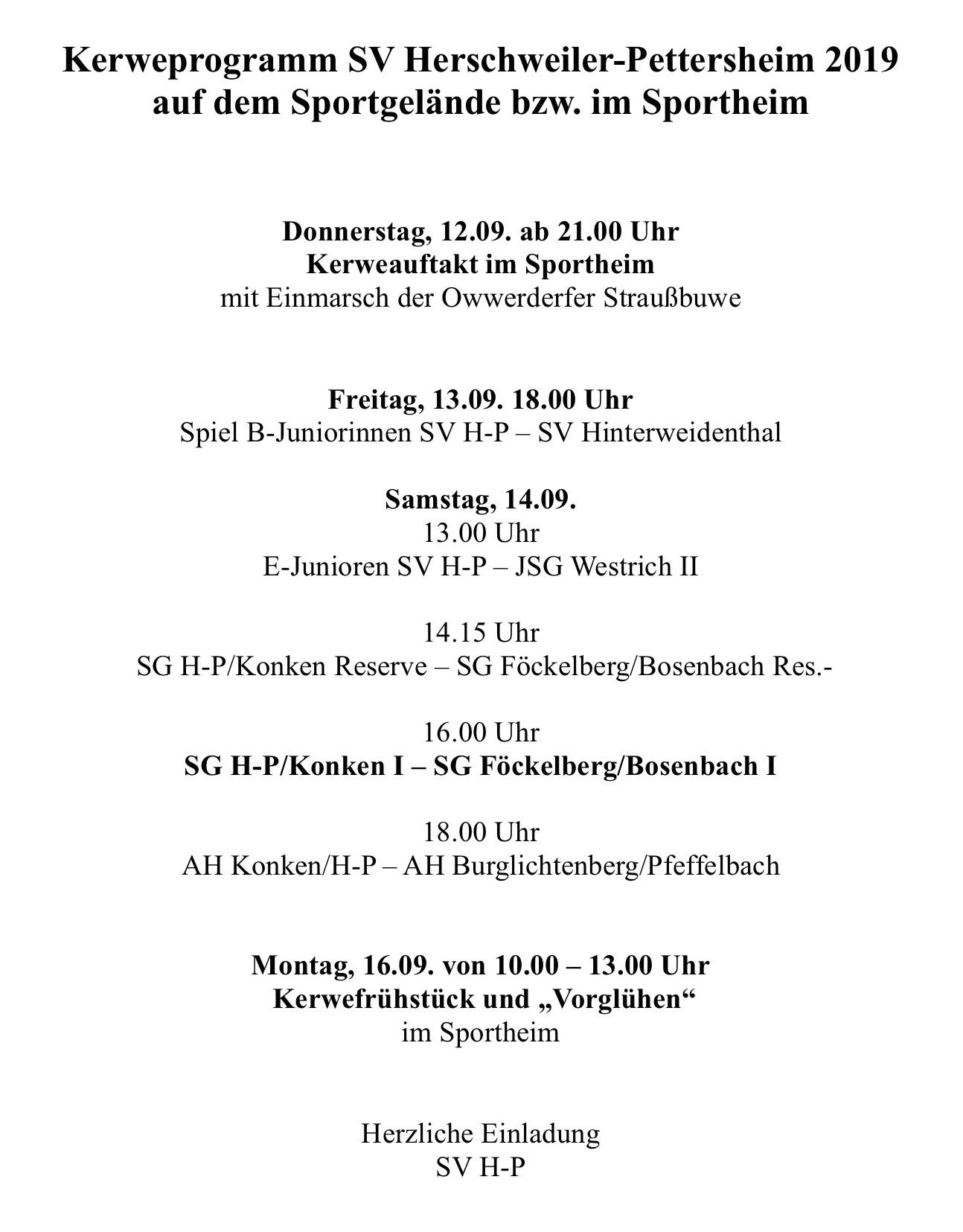 Kerweprogramm SV Herschweiler-Pettersheim 2019