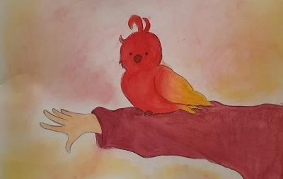 Aquarell mit Papagei von Hannah St., Malakademie Jugend