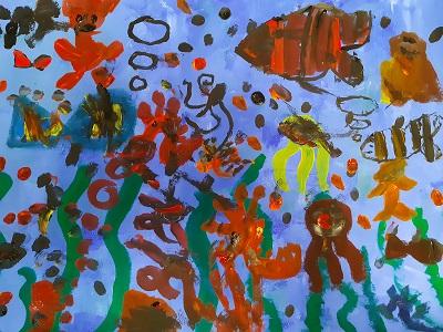 gemeinschaftlich gestaltetes  Bild , Unterwasserwelt ,  Malakademie Kids